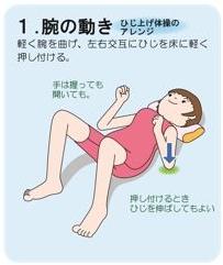 恥骨痛の運動 1.腕の動き 軽く肘を曲げ、左右交互に肘を床に軽く押し付ける