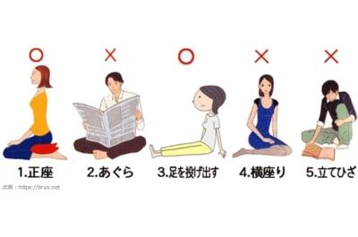 正しい椅子や床の座り方