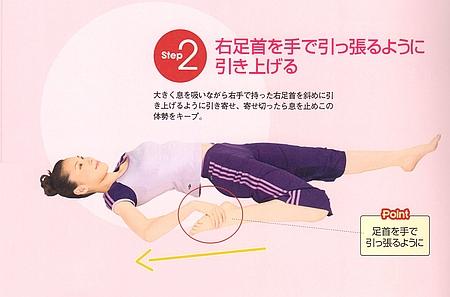 STEP2⃣:右足首を手で引っ張るように引き上げます