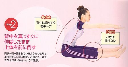 STEP2⃣:背中をまっすぐに伸ばしたまま上体を前に倒す