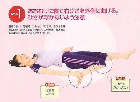 STEP1⃣:仰向けに寝て右膝を外側に曲げます。膝が浮かないように注意
