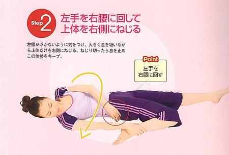 STEP2⃣:左手を右腰に回して上半身を右側にねじります