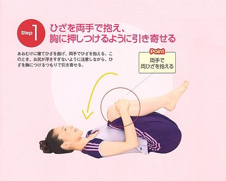 STEP1⃣:膝を両手で抱え、胸に押し付けるように引き寄せます