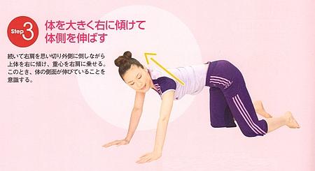 体を大きく右に傾けて体の横を伸ばします