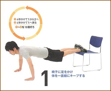 プッシュアップ(椅子を使った腕立て伏せ)1