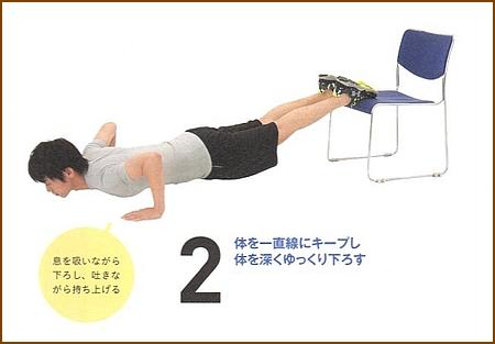 プッシュアップ(椅子を使った腕立て伏せ)2