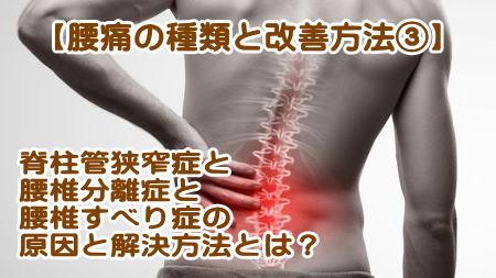 脊柱管狭窄症、腰椎分離症とすべり症の原因と改善方法