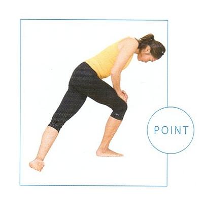お尻と太ももの外を伸ばすストレッチポイント