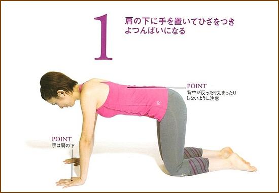 硬くなった腹筋を縦に伸ばす「対角線手足伸ばし」1