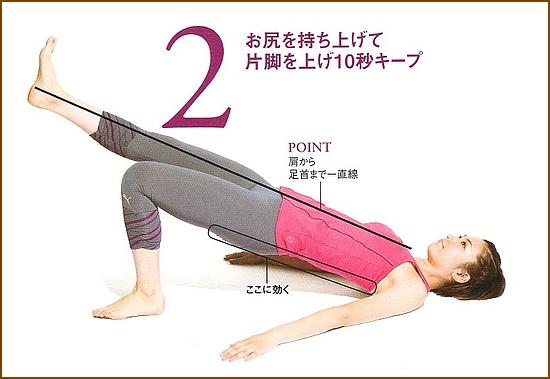 お尻と太もも裏を強化「片足上げヒップリフト」2