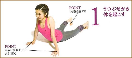 硬くなったお腹の筋肉ゆるめる「腕立て腰ひねり」1