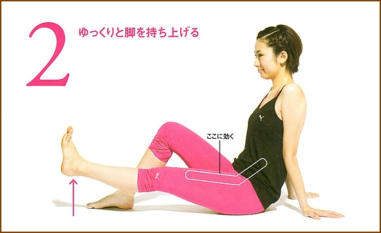 足を持ち上げて腹部の筋肉を強化片足上げ下げ2