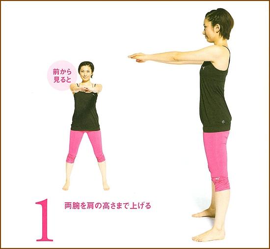 両腕を肩の高さまで上げる