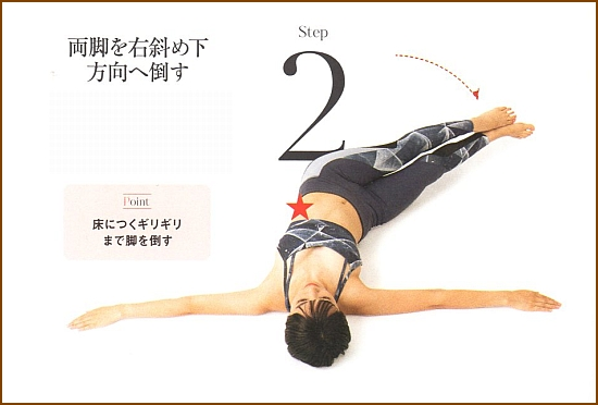 くびれを作り下腹を引き締める筋トレ・レッグツイスト2