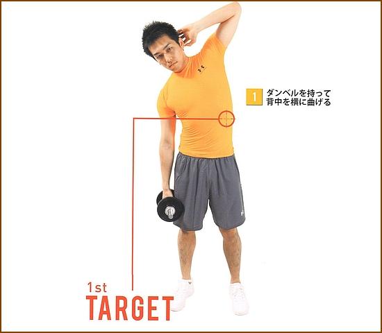 ダンベルで腹斜筋を鍛える筋トレ・サイドベント1