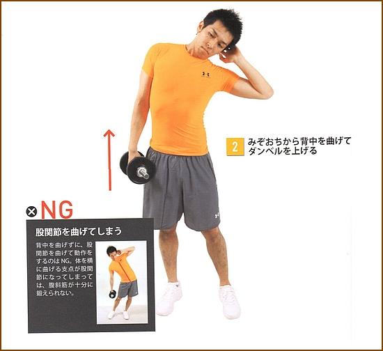 ダンベルで腹斜筋を鍛える筋トレ・サイドベント2